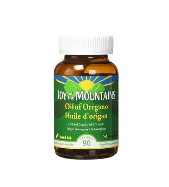 Brown and green bottle of Joy Of The Mountains Oil of oregano contains 90 Caps