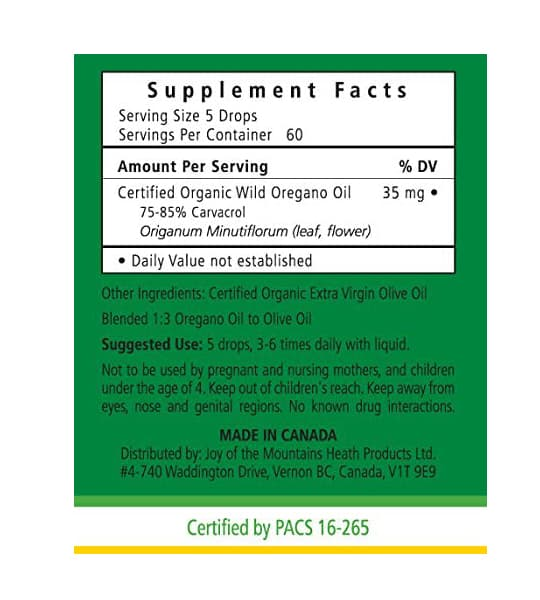 Supplement facts and ingredients panel of Joy of The Mountains Oil of Oregano 15 ml