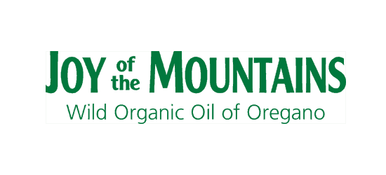 Logo of Joy of the Mountains with tag line Wild Organic Oil of Oregano
