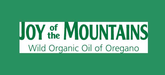 Logo of Joy of the Mountains with tag line Wild Organic Oil of Oregano