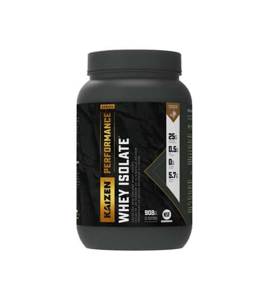 Black container of Kaizen Performance Whey Isolate 2 lbs (908 g)