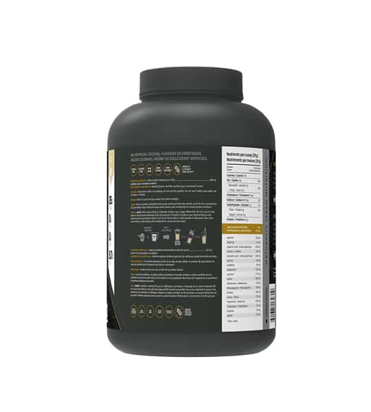 Black container showing back side of Kaizen Performance Whey Isolate 2lbs