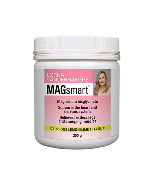 White and pink container of Lorna MagSmart Powder 30Servings with delicious lemon/lime Flavour