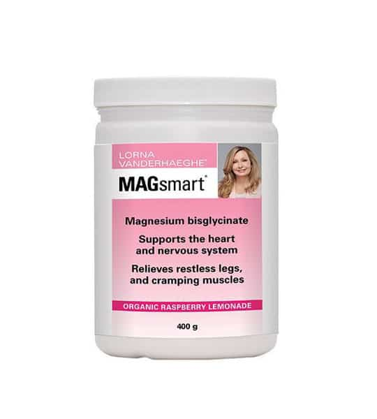 White and pink container of Lorna MagSmart Powder 30Servings with organic raspberry lemonade flavour