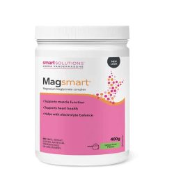 White and pink container of Lorna MagSmart magnesium Bisglycinate complex Powder 30Servings
