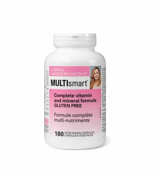 White bottle with pink label of Lorna MultiSmart Complete vitamin and mineral formula gluten free 180 Veg Caps