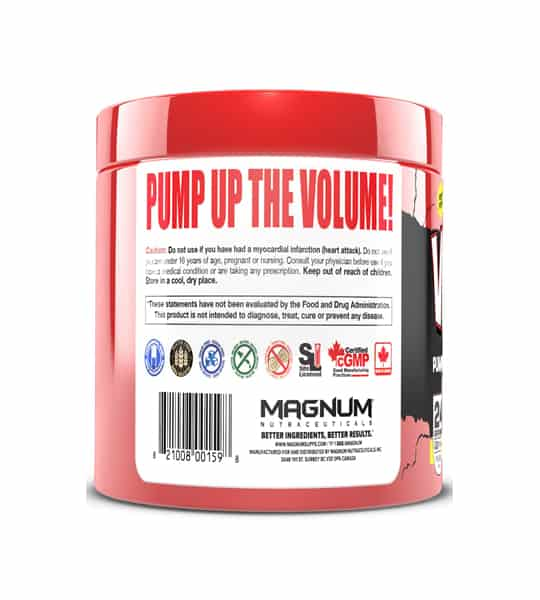 Red container showing back side of Magnum Volume 24 Servings