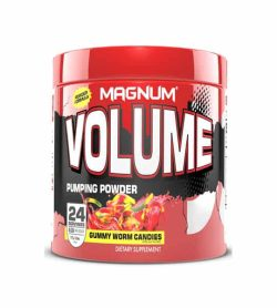 Red container with red cap of Magnum Volume Pumping Powder with gummy worm candies flavour 24 Servings