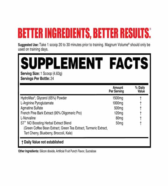 Supplement facts and ingredients panel of Magnum Volume 24 Servings