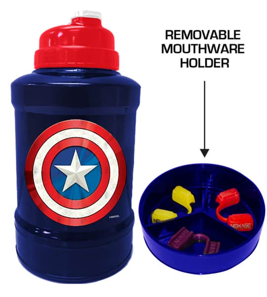 Blue and red bottle of Marvel Power Jug Captain America shown with removable mouthware holder