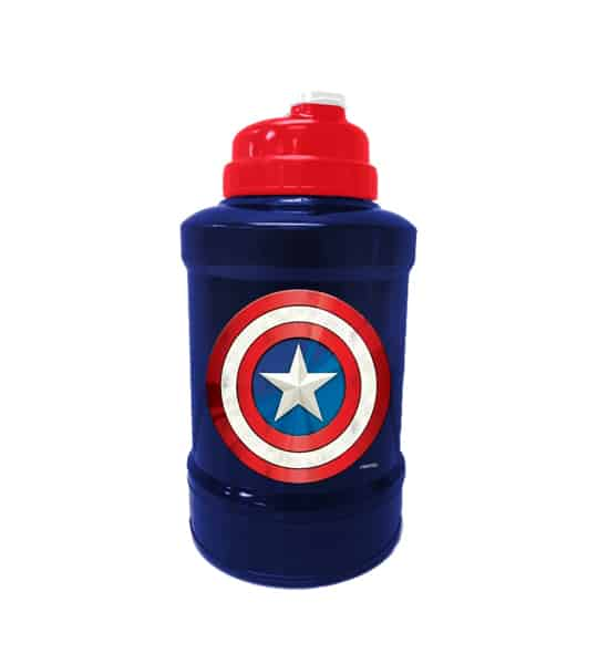 Blue and red bottle of Marvel Power Jug Captain America shown in white background
