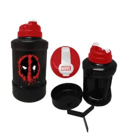Black and red bottle of Marvel Power Jug Deadpool shown with smaller bottle and caps