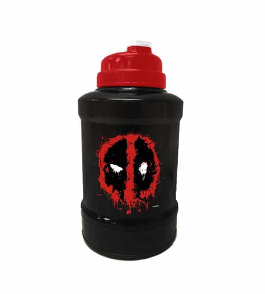 Black and red bottle of Marvel Power Jug Deadpool shown in white background