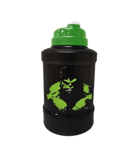 Black and green bottle of Marvel Power Jug Hulk shown in white background