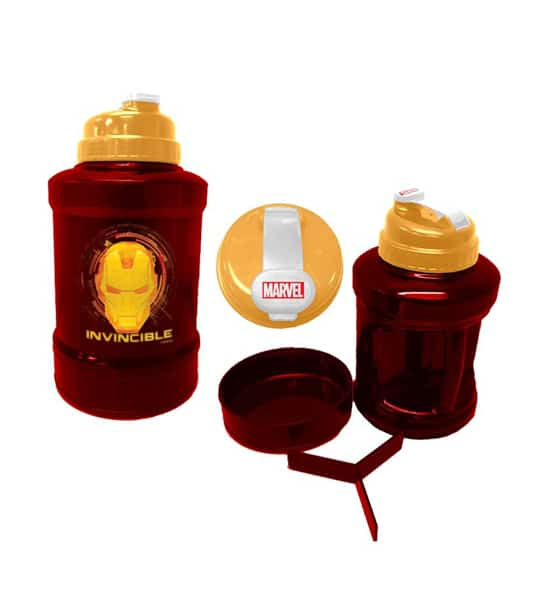 Red and yellow Marvel Power Jug IronMan shown with smaller mug and caps