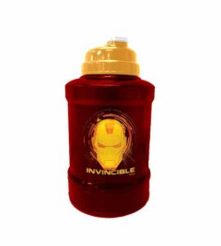Red and yellow Marvel Power Jug IronMan shown in white background