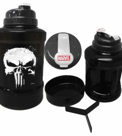Black and white Marvel Power Jug Punisher shown with smaller mug and caps