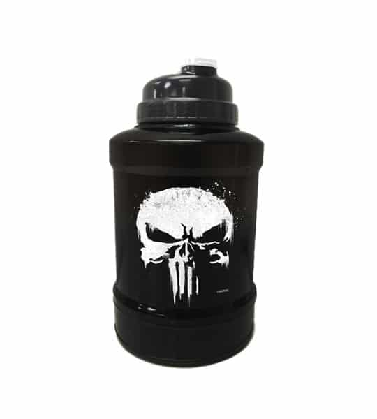 Black and white Marvel Power Jug Punisher shown in white background