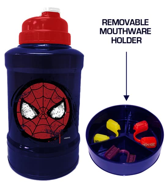 Blue and red bottle of Marvel Power Jug Spiderman shown with removable mouthware holder