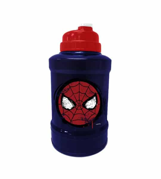 Blue and red bottle of Marvel Power Jug Spiderman shown in white background