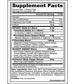 Supplement facts and ingredients panel of Mutant BCAA 9.7 Energy 65 Serv
