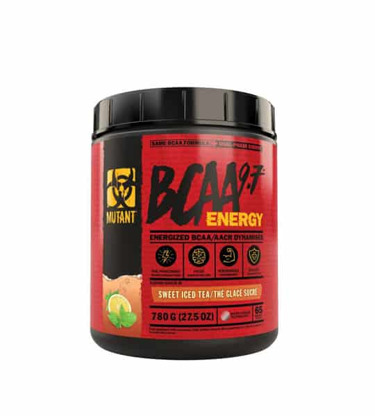 Black and red container of Mutant BCAA 9.7 Energy with sweet iced tea contains 65 Serv