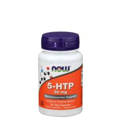 White and orange bottle with purple cap of NOW 5-HTP 50 mg Neurotransmitter Support 30 Veg Capsules