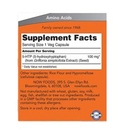 Supplement facts and ingredients panel of NOW 5HTP for a serving size of 1 veg capsule shown in orange label