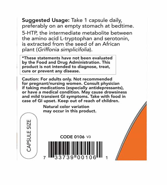 Suggested usage and caution label of NOW 5HTP shown in black text in white background