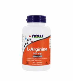 White and orange bottle with purple cap of NOW L-Arginine 500mg Amino Acid 100-Caps