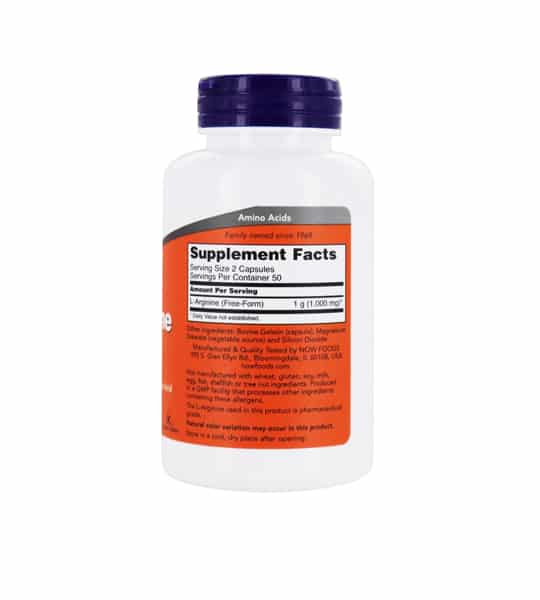 White and orange bottle showing supplement facts panel of NOW Arginine 500mg 100-Caps