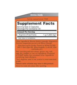 Supplement facts and ingredients panel of NOW Arginine 500mg 100-Caps