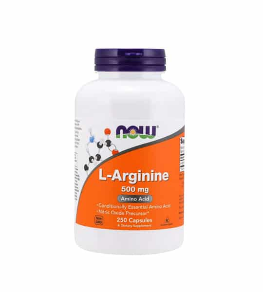 White and orange bottle with purple cap of NOW L-Arginine 500 mg Amino Acid contains 250 capsules