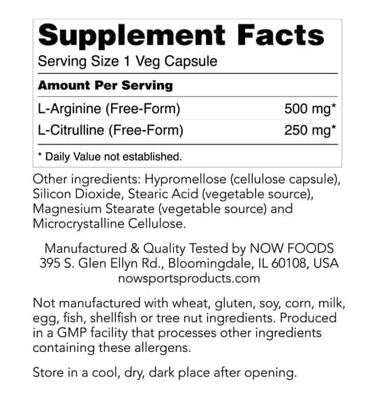 Supplement facts and ingredients panel of NOW L-Arginine 500mg and L-Citrulline 250mg 120-Capsules
