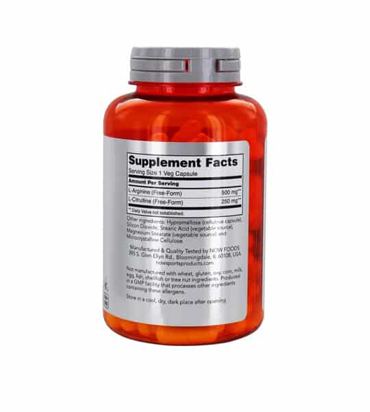 Orange and silver bottle showing supplement facts panel of NOW Arginine 500mg and Citrulline 250mg 120-Capsules