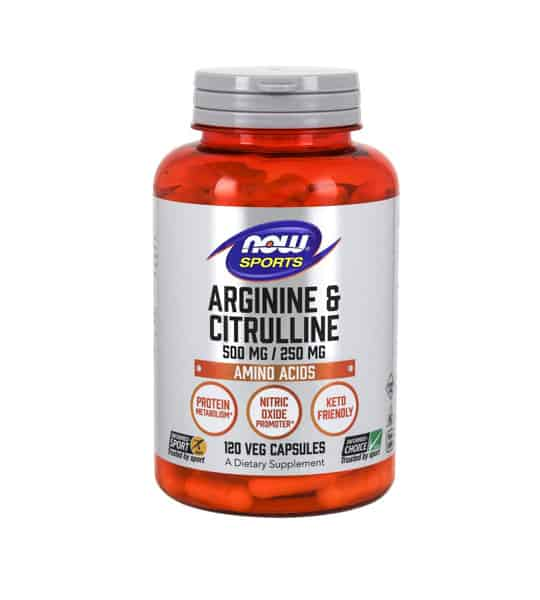 Orange and silver bottle of NOW Sports Arginine & Citrulline Amino Acids 120 Veg Capsules
