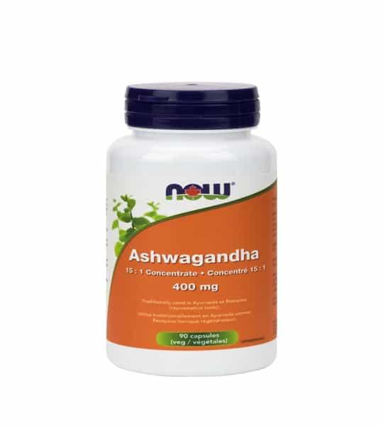 White and orange bottle with purple cap of NOW Ashwaghanda 400 mg 90 Veg Caps
