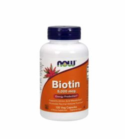 White and orange bottle with purple cap of NOW Biotin 5000 mcg Energy Production* contains 120 veg capsules