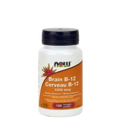 White and orange bottle with purple cap of NOW Brain b-12 1000mcg methylcobalamin contains 100 caps