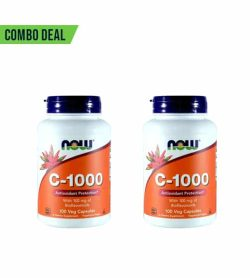 Combo deal 2 white and orange containers of NOW C-1000 each containing 100 Caps