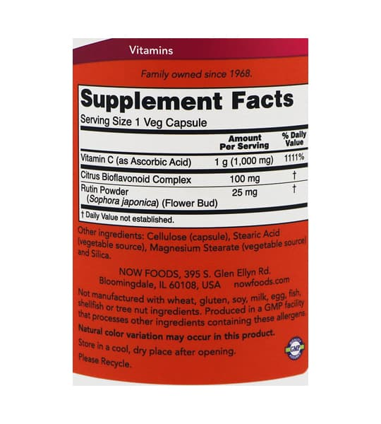 Supplement facts and ingredients panel of NOW C-1000 100 Caps
