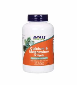 White and orange bottle with purple cap of NOW Calcium & Magnesium Supports Bone Health contains 120 Softgels
