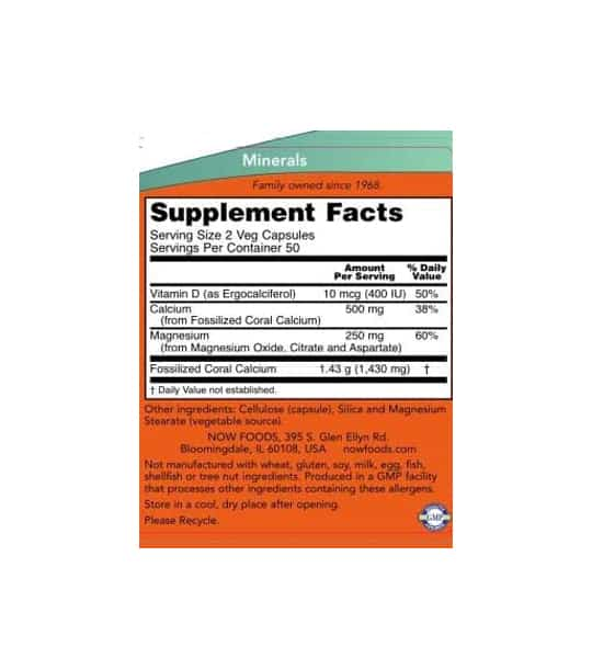Supplement facts and ingredients panel of NOW Coral Calcium for a serving size of 2 veg caps
