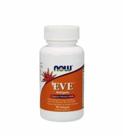 White and orange bottle with white cap of NOW EVE softgels superior women's multi contains 90 softgels
