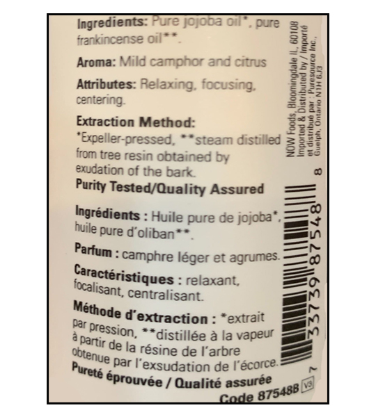 Ingredients panel of NOW Frankincense Oil 30 ml
