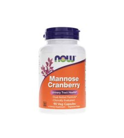 White and orange bottle of NOW Mannose Cranberry Urinary Tract Health contains 90veg caps