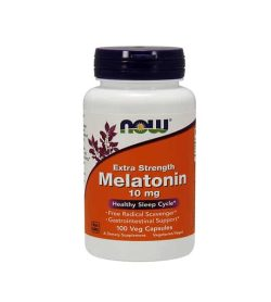 White and orange bottle with purple cap of Now Extra Strength Melatonin 10 mg Health Sleep Cycle contains 100 veg capsules
