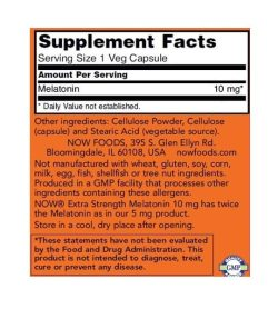 Supplement facts and ingredients panel of NOW Melatonin for a serving size of 1 veg capsule in orange label