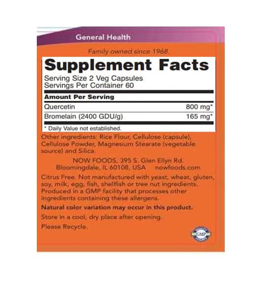 Supplement facts and ingredients panel of NOW Quercetin for a serving size of 2 veg capsules with 60 servings per container