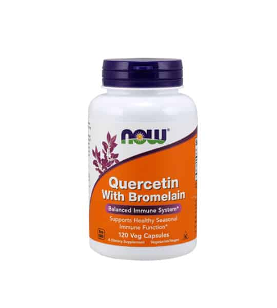 White and orange bottle with purple cap of Now Quercetin with Bromelain Balanced Immune System contains 120 veg capsules